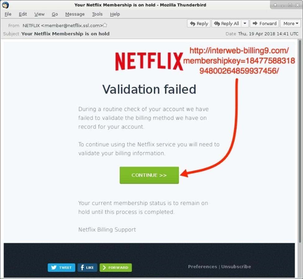 Phishing Mail Link Angeklickt